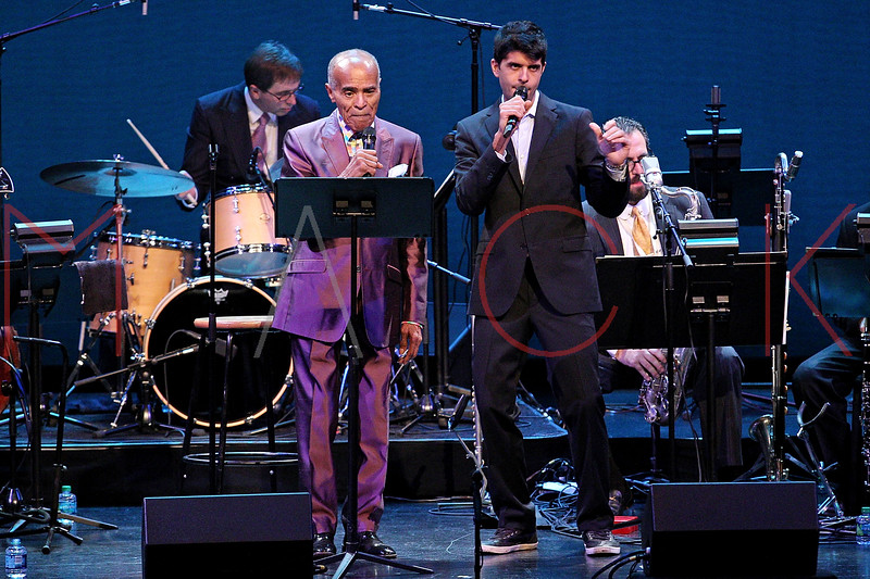 NEW YORK, NY - SEPTEMBER 24:  Jon Hendricks and Sachal Vasandani perform during the 2011 Jazz At Lincoln Center Opening Night Concert featuring Jon Hendricks & Jimmy Heath at the Rose Theater, Jazz at Lincoln Center on September 24, 2011 in New York City.  (Photo by Steve Mack/S.D. Mack Pictures) *** Local Caption *** Jon Hendricks; Sachal Vasandani