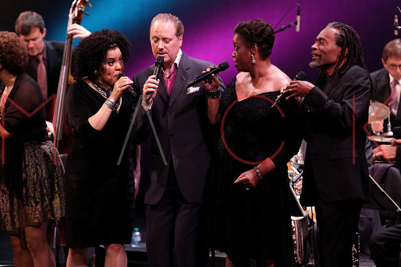 NEW YORK, NY - SEPTEMBER 24:  Aria Hendricks, Kevin Fitzgerald Burke, Dianne Reeves and Bobby McFerrin perform during the 2011 Jazz At Lincoln Center Opening Night Concert featuring Jon Hendricks & Jimmy Heath at the Rose Theater, Jazz at Lincoln Center on September 24, 2011 in New York City.  (Photo by Steve Mack/S.D. Mack Pictures) *** Local Caption *** Aria Hendricks; Kevin Fitzgerald Burke; Dianne Reeves; Bobby McFerrin