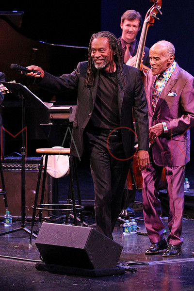 NEW YORK, NY - SEPTEMBER 24:  Bobby McFerrin and Jon Hendricks performs during the 2011 Jazz At Lincoln Center Opening Night Concert featuring Jon Hendricks & Jimmy Heath at the Rose Theater, Jazz at Lincoln Center on September 24, 2011 in New York City.  (Photo by Steve Mack/S.D. Mack Pictures) *** Local Caption *** Bobby McFerrin; Jon Hendricks