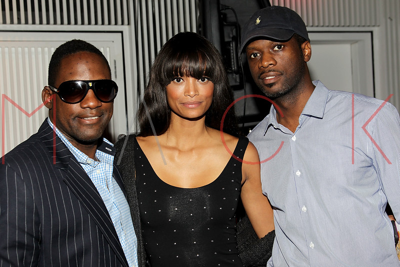 """NEW YORK, NY - SEPTEMBER 28:  Mike Jean, Monica Watkins and Pras of """"The Fugees"""" attend a Night of Art Music to benefit Haiti at the Red Bull Space on September 28, 2011 in New York City.  (Photo by Steve Mack/S.D. Mack Pictures) *** Local Caption *** Mike Jean; Monica Watkins; Pras"""