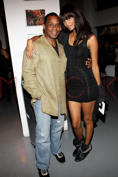"""NEW YORK, NY - SEPTEMBER 28:  Master Gee of """"The Sugar Hill Gang"""" and Monica Watkions attend a Night of Art Music to benefit Haiti at the Red Bull Space on September 28, 2011 in New York City.  (Photo by Steve Mack/S.D. Mack Pictures) *** Local Caption *** Master Gee; Monica Watkins"""