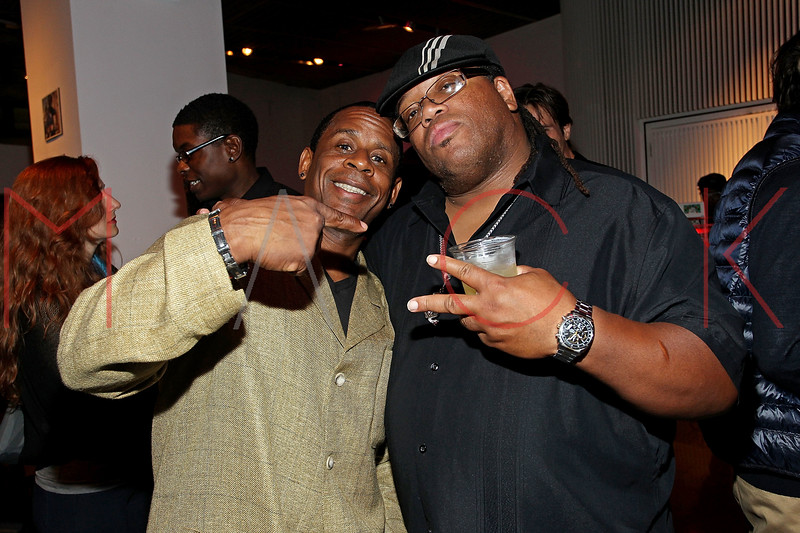 """NEW YORK, NY - SEPTEMBER 28:  Master Gee and T Dynasty of """"Sugar Hill Gang"""" attend a Night of Art Music to benefit Haiti at the Red Bull Space on September 28, 2011 in New York City.  (Photo by Steve Mack/S.D. Mack Pictures) *** Local Caption *** Master Gee; T Dynasty"""