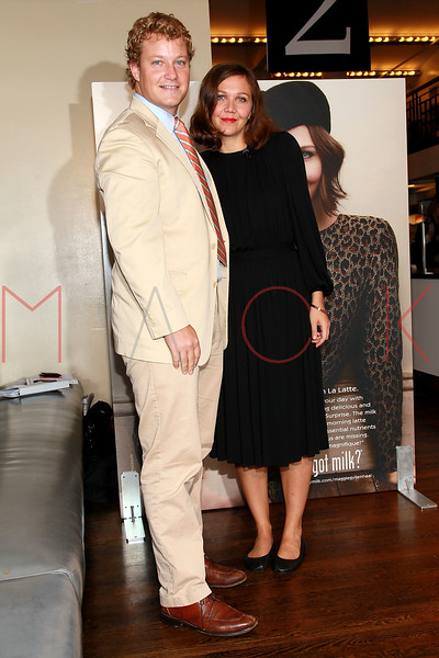 "NEW YORK, NY - SEPTEMBER 22:  Marketing Manager of the ""Got Milk?"" marketing campaign Chris Perdue and Maggie Gyllenhaal unveil ""got milk?"" ad at City Bakery on September 22, 2011 in New York City.  (Photo by Steve Mack/S.D. Mack Pictures) *** Local Caption *** Chris Perdue; Maggie Gyllenhaal"