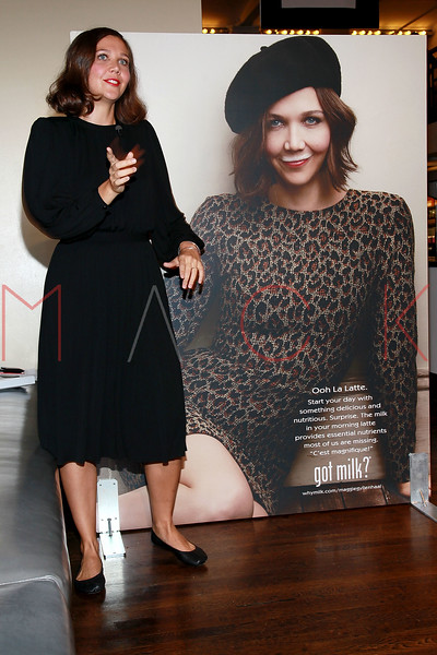 """NEW YORK, NY - SEPTEMBER 22:  Maggie Gyllenhaal unveils """"got milk?"""" ad at City Bakery on September 22, 2011 in New York City.  (Photo by Steve Mack/S.D. Mack Pictures) *** Local Caption *** Maggie Gyllenhaal"""