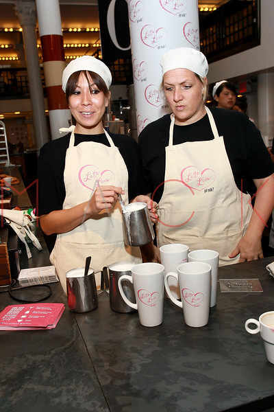"NEW YORK, NY - SEPTEMBER 22:  Atmosphere (latte product demo) at the unveiling of ""got milk?"" ad at City Bakery on September 22, 2011 in New York City.  (Photo by Steve Mack/S.D. Mack Pictures)"