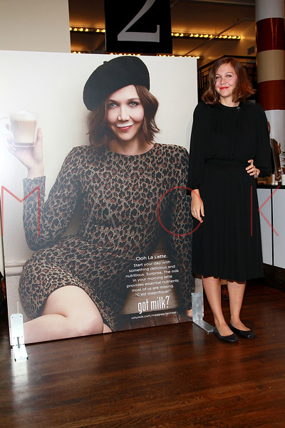 "NEW YORK, NY - SEPTEMBER 22:  Maggie Gyllenhaal unveils ""got milk?"" ad at City Bakery on September 22, 2011 in New York City.  (Photo by Steve Mack/S.D. Mack Pictures) *** Local Caption *** Maggie Gyllenhaal"