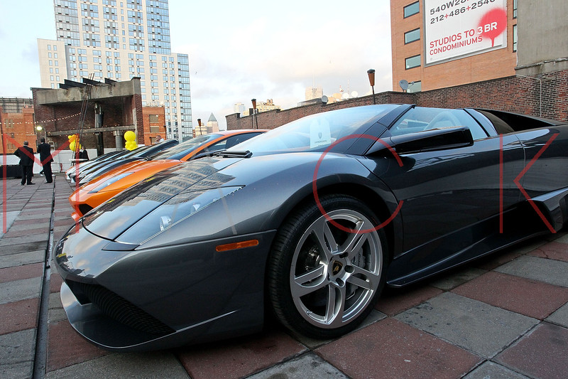 NEW YORK, NY - SEPTEMBER 20:  Atmosphere (cars displayed on rooftop) at the Lamborghini LP700-4 Aventador unveiling and Nuvo Lemon Sorbet launch at Manhattan Motorcars on September 20, 2011 in New York City.  (Photo by Steve Mack/S.D. Mack Pictures)