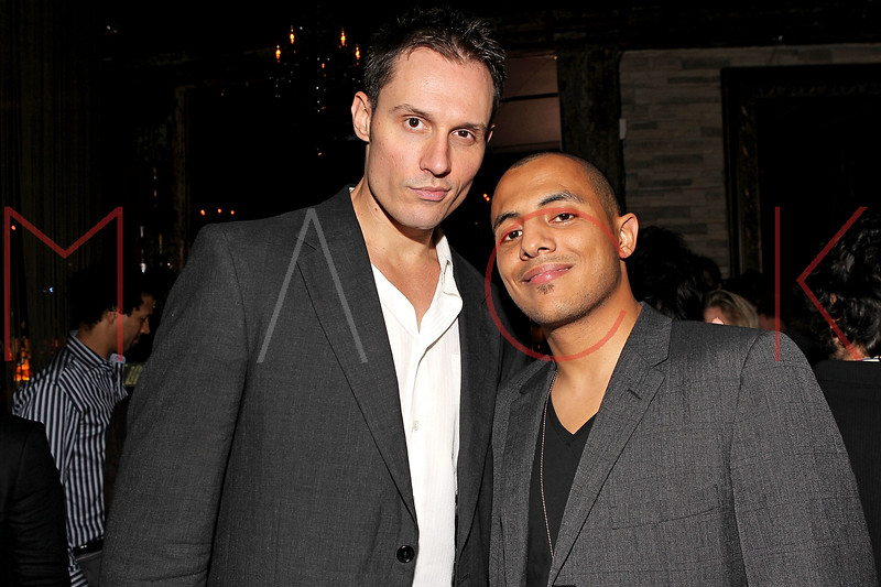 """NEW YORK, NY - SEPTEMBER 30:  Actor Keith Collins and Stan up comic Eman Morgan attend the """"Stuck in the Middle"""" premiere after party at Lair Lounge on September 30, 2011 in New York City.  (Photo by Steve Mack/S.D. Mack Pictures) *** Local Caption *** Keith Collins; Eman Morgan"""