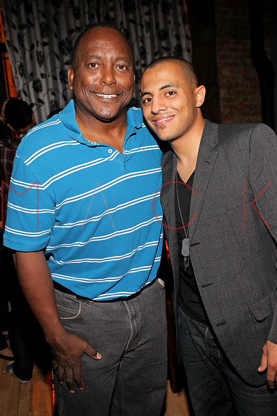 "NEW YORK, NY - SEPTEMBER 30:  Former professional baseball player who played in the Major Leagues Billy Sample and Stan up comic Eman Morgan attend the ""Stuck in the Middle"" premiere after party at Lair Lounge on September 30, 2011 in New York City.  (Photo by Steve Mack/S.D. Mack Pictures) *** Local Caption *** Billy Sample; Eman Morgan"
