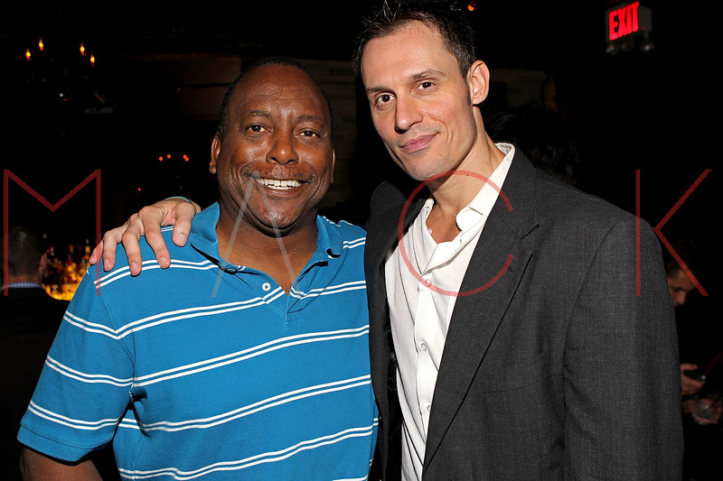 """NEW YORK, NY - SEPTEMBER 30:  Former professional baseball player who played in the Major Leagues Billy Sample and actor Keith Collins attend the """"Stuck in the Middle"""" premiere after party at Lair Lounge on September 30, 2011 in New York City.  (Photo by Steve Mack/S.D. Mack Pictures) *** Local Caption *** Billy Sample; Keith Collins"""