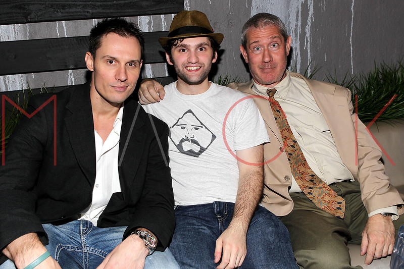 """NEW YORK, NY - SEPTEMBER 30:  Actors Keith Collins, Stephen Fontana and Cash Tilton attend the """"Stuck in the Middle"""" premiere after party at Lair Lounge on September 30, 2011 in New York City.  (Photo by Steve Mack/S.D. Mack Pictures) *** Local Caption *** Keith Collins; Stephen Fontana; Cash Tilton"""