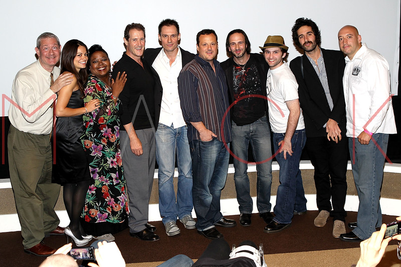 """NEW YORK, NY - SEPTEMBER 30:  Actors Cash Tilton, Penelope Lagos, Evonne Walton, Jack Mulcahy, Keith Collins, producer Jeff Quinlan, co-director Joseph Pepitone, actor Stephen Fontana, co-director Carlos Duhaime and actor John Camera attend the premiere of """"Stuck in the Middle"""" at Tribeca Grand Screening Room on September 30, 2011 in New York City.  (Photo by Steve Mack/S.D. Mack Pictures) *** Local Caption *** Cash Tilton; Penelope Lagos; Evonne Walton; Jack Mulcahy; Keith Collins; Jeff Quinlan; Pepitone; Stephen Fontana; Carlos Duhaime; John Camera"""