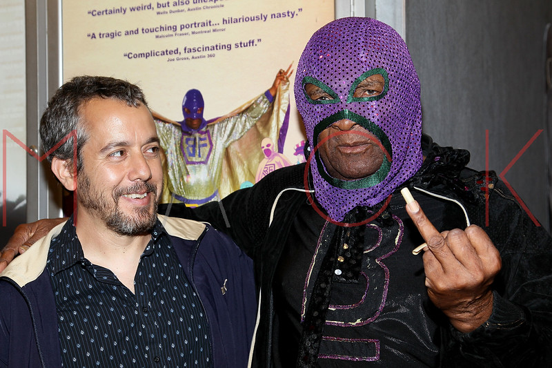 """NEW YORK, NY - SEPTEMBER 16:  Filmmaker Jonathan Furmanski and Rap legend Clarence """"BLOWFLY"""" Reid attend the """"The Weird World of Blowfly"""" premiere at the Quad Cinema on September 16, 2011 in New York City.  (Photo by Steve Mack/S.D. Mack Pictures) *** Local Caption *** Jonathan Furmanski; Clarence """"BLOWFLY"""" Reid"""