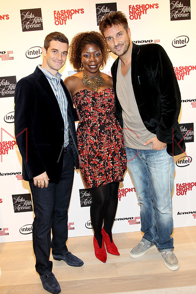 NEW YORK, NY - SEPTEMBER 08:  Nick Reynolds, Sherida McMullan and Mathias Winks at Saks Fifth Avenue on September 8, 2011 in New York City.  (Photo by Steve Mack/Getty Images for Vogue) *** Local Caption *** Nick Reynolds; Sherida McMullan; Mathias Winks