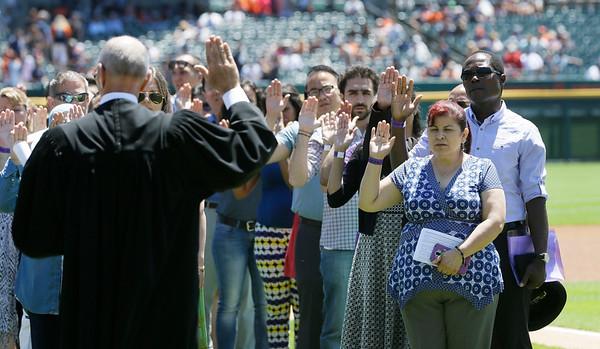 Marlins Tigers Baseball Naturalization Ceremony