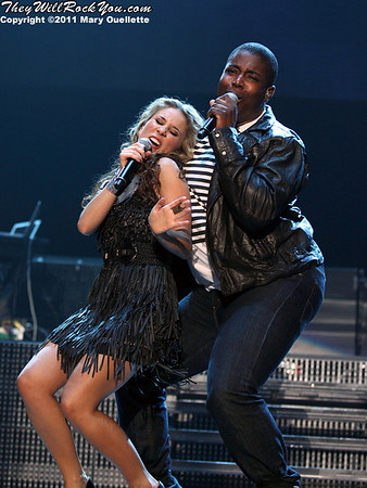 Haley Reinhart and Jacob Lusk perform at American Idols Live! at the DCU Center on September 1, 2011 in Worcester, Massachusetts