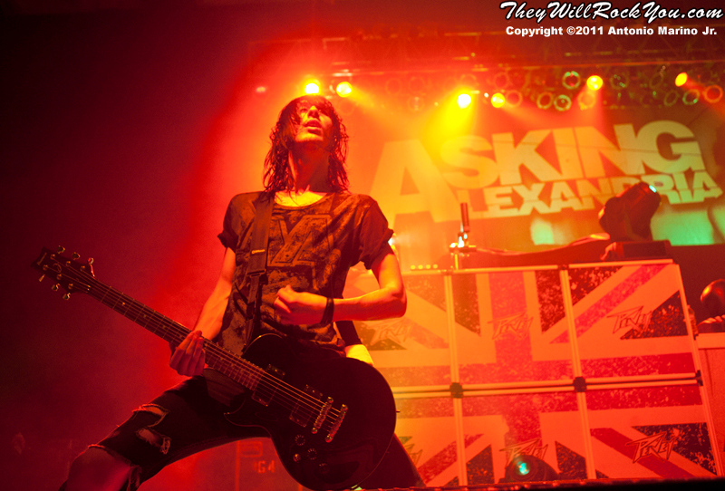"Cameron Liddell of Asking Alexandria  performs on November 12, 2011 during the ""World War III"" tour at the Mid-Hudson Civic Center in Poughkeepsie, NY"