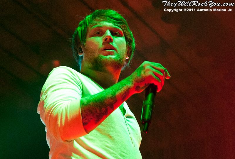 "Danny Worsnop of Asking Alexandria performs on November 12, 2011 during the ""World War III"" tour at the Mid-Hudson Civic Center in Poughkeepsie, NY"