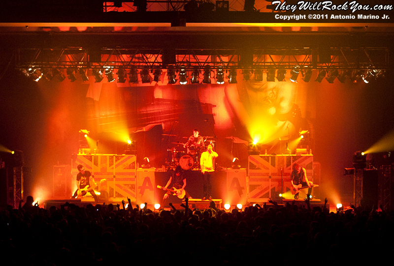 """Asking Alexandria  performs on November 12, 2011 during the """"World War III"""" tour at the Mid-Hudson Civic Center in Poughkeepsie, NY"""