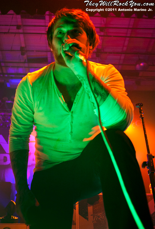 """Danny Worsnop of Asking Alexandria performs on November 12, 2011 during the """"World War III"""" tour at the Mid-Hudson Civic Center in Poughkeepsie, NY"""