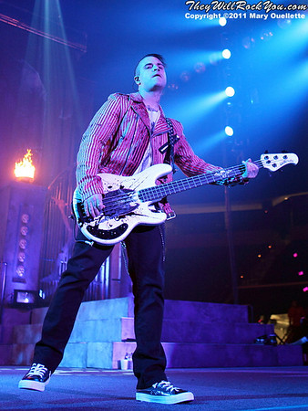 "Johnny Christ of Avenged Sevenfold performs on January 22, 1011 in support of their ""Nightmare After Christmas Tour"" at The Tsongas Center in Lowell, Massachusetts"