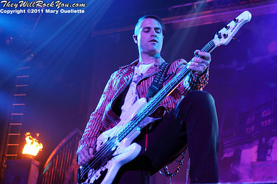 """Johnny Christ of Avenged Sevenfold performs on January 22, 1011 in support of their """"Nightmare After Christmas Tour"""" at The Tsongas Center in Lowell, Massachusetts"""