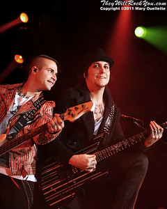 """Johnny Christ & Synyster Gates of Avenged Sevenfold performs on January 22, 1011 in support of their """"Nightmare After Christmas Tour"""" at The Tsongas Center in Lowell, Massachusetts"""