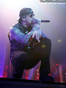 """M. Shadows of Avenged Sevenfold performs on January 22, 1011 in support of their """"Nightmare After Christmas Tour"""" at The Tsongas Center in Lowell, Massachusetts"""