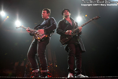 """Zacky Vengeance & Synyster Gates of Avenged Sevenfold performs on January 22, 1011 in support of their """"Nightmare After Christmas Tour"""" at The Tsongas Center in Lowell, Massachusetts"""