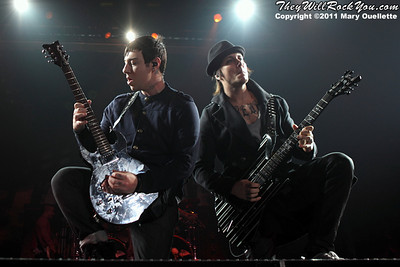 "Zacky Vengeance & Synyster Gates of Avenged Sevenfold performs on January 22, 1011 in support of their ""Nightmare After Christmas Tour"" at The Tsongas Center in Lowell, Massachusetts"