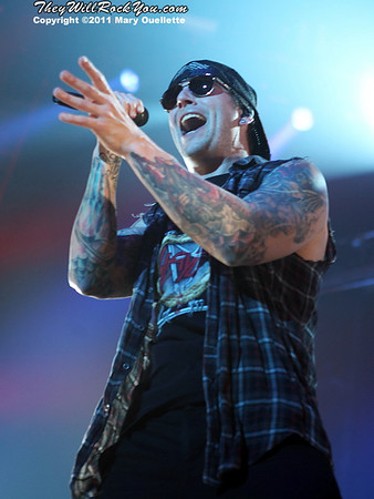 "M. Shadows of Avenged Sevenfold performs on January 22, 1011 in support of their ""Nightmare After Christmas Tour"" at The Tsongas Center in Lowell, Massachusetts"