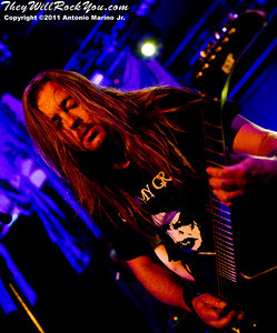 """Roope Latvala of Children of Bodom performs on July 16, 2011 during their """"The Ugly World Tour"""" at the Best Buy Theatre in New York City, New York."""
