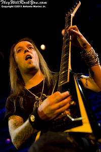 """Alexi Laiho of Children of Bodom performs on July 16, 2011 during their """"The Ugly World Tour"""" at the Best Buy Theatre in New York City, New York."""