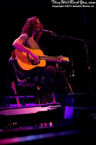 """Chris Cornell performs during his sold-out """"Songbook Volume 1"""" tour to the Klein Memorial Auditorium in Bridgeport, CT on April 8, 2011"""