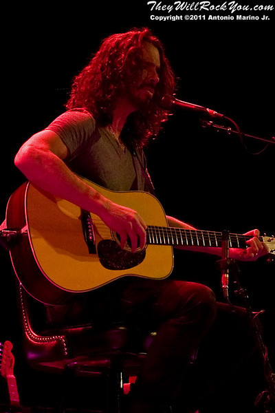 "Chris Cornell performs during his sold-out ""Songbook Volume 1"" tour to the Klein Memorial Auditorium in Bridgeport, CT on April 8, 2011"