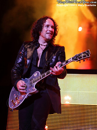 "Vivan Campbell of Def Leppard performs on June 30, 2011 during the ""Mirrorball Tour"" at the Comcast Center in Mansfield, Massachusetts."