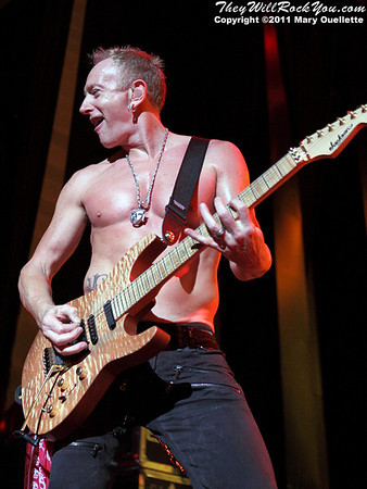 "Phil Collen of Def Leppard performs on June 30, 2011 during the ""Mirrorball Tour"" at the Comcast Center in Mansfield, Massachusetts."