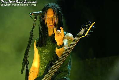 Jul 09, 2011, San Bernardino, CA, USA - John Moyer, bass player for Disturbed performs during the Mayhem Festival held at San Manuel Amphitheater in San Bernardino.