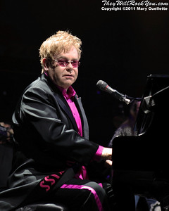 Elton John and his band perform at the DCU Center in Worcester, MA on March 12, 2011