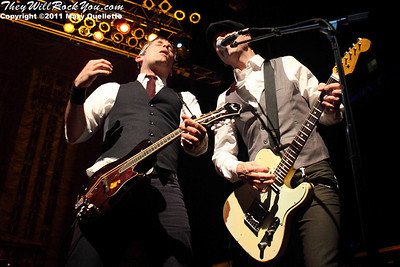 Robert Schmidt & Dennis Casey of Flogging Molly performs during their 7th Annual Green 17 Tour on February 27, 2011 at the House of Blues in Boston, Massachusetts