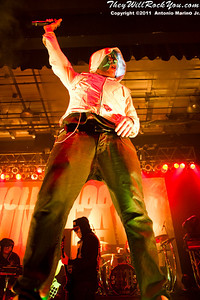 """Hollywood Undead performs on November 12, 2011 during the """"World War III"""" tour at the Mid-Hudson Civic Center in Poughkeepsie, NY"""
