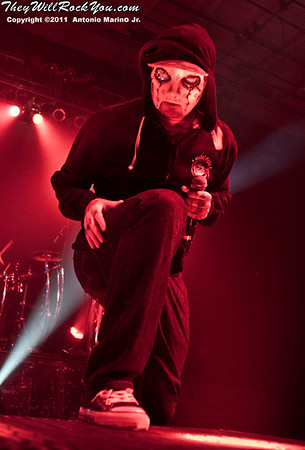"J Dog of Hollywood Undead performs on November 12, 2011 during the ""World War III"" tour at the Mid-Hudson Civic Center in Poughkeepsie, NY"