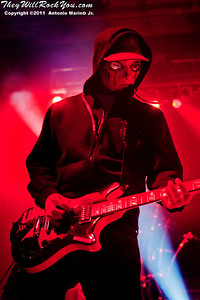 """J Dog of Hollywood Undead performs on November 12, 2011 during the """"World War III"""" tour at the Mid-Hudson Civic Center in Poughkeepsie, NY"""