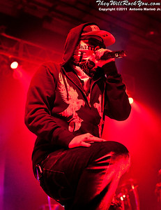 "Charlie Scene of Hollywood Undead performs on November 12, 2011 during the ""World War III"" tour at the Mid-Hudson Civic Center in Poughkeepsie, NY"