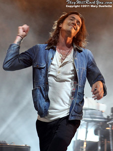 """Brandon Boyd of Incubus performs on September 9, 2011 in support of """"If Not Now, When?"""" at Comcast Center in Mansfield, Massachusetts"""