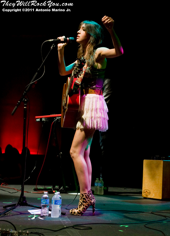 "Kate Voegele performs on October 12, 2011 during her ""Gravity Happens Tour"" at the Highline Ballroom in New York City, NY"