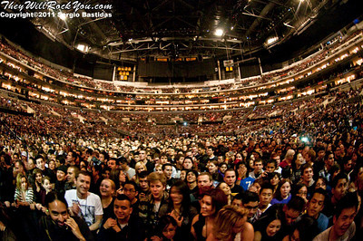 Linking Park performing live on the stage of the Staples Center in Los Angeles, Calif. on Wednesday night, Feb. 23, 2011. (Photo by Sergio Bastidas/sini69photo.com, ©2011)