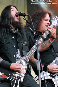 Jul 09, 2011, San Bernardino, CA, USA - Rob Flynn (L), lead vocalist and guitar player for Machine Head and guitarist Phil Demmel perform during the Mayhem Festival held at San Manuel Amphitheater in San Bernardino.