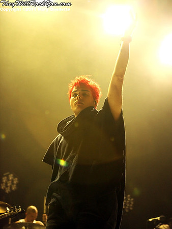 Gerard Way of My Chemical Romance performs on the 2011 Honda Civic Tour on August 9, 2011 at the Comcast Center in Mansfield, MA