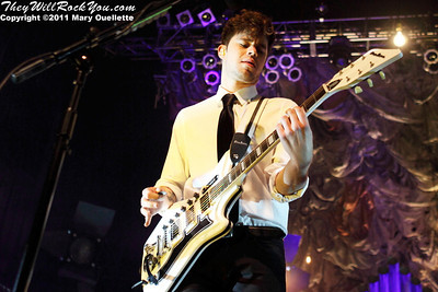 """Ian Crawford of Panic at the Disco kicks off their tour in support of """"Vices & Virtues"""" on May 22, 2011 at the House of Blues in Boston, MA"""